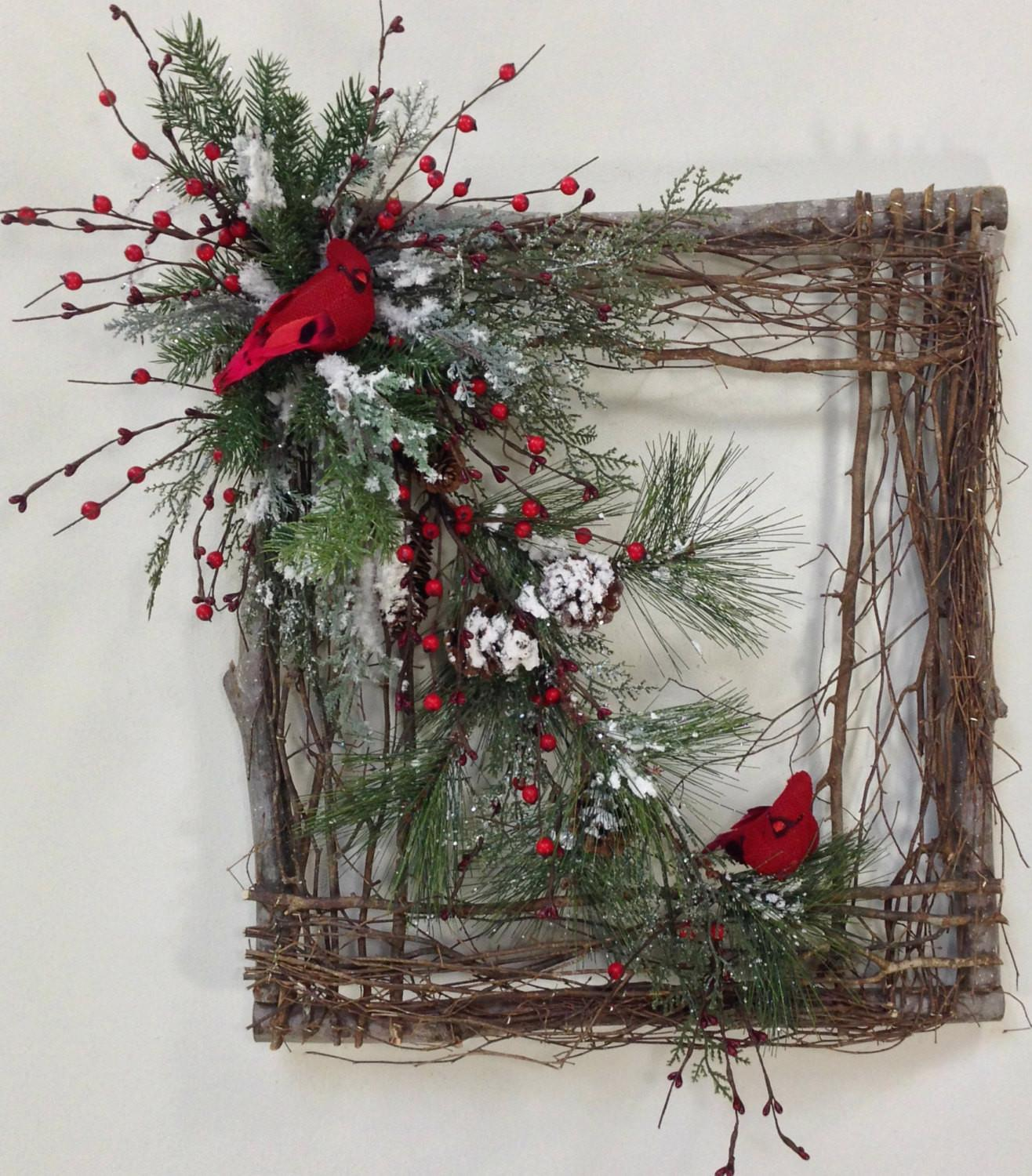 Square Twig Wreath Cardinal Winter