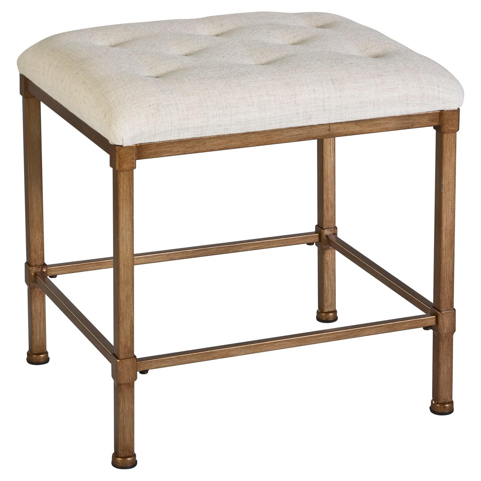 Square Upholstered Tufted Backless Bathroom Vanity Chair