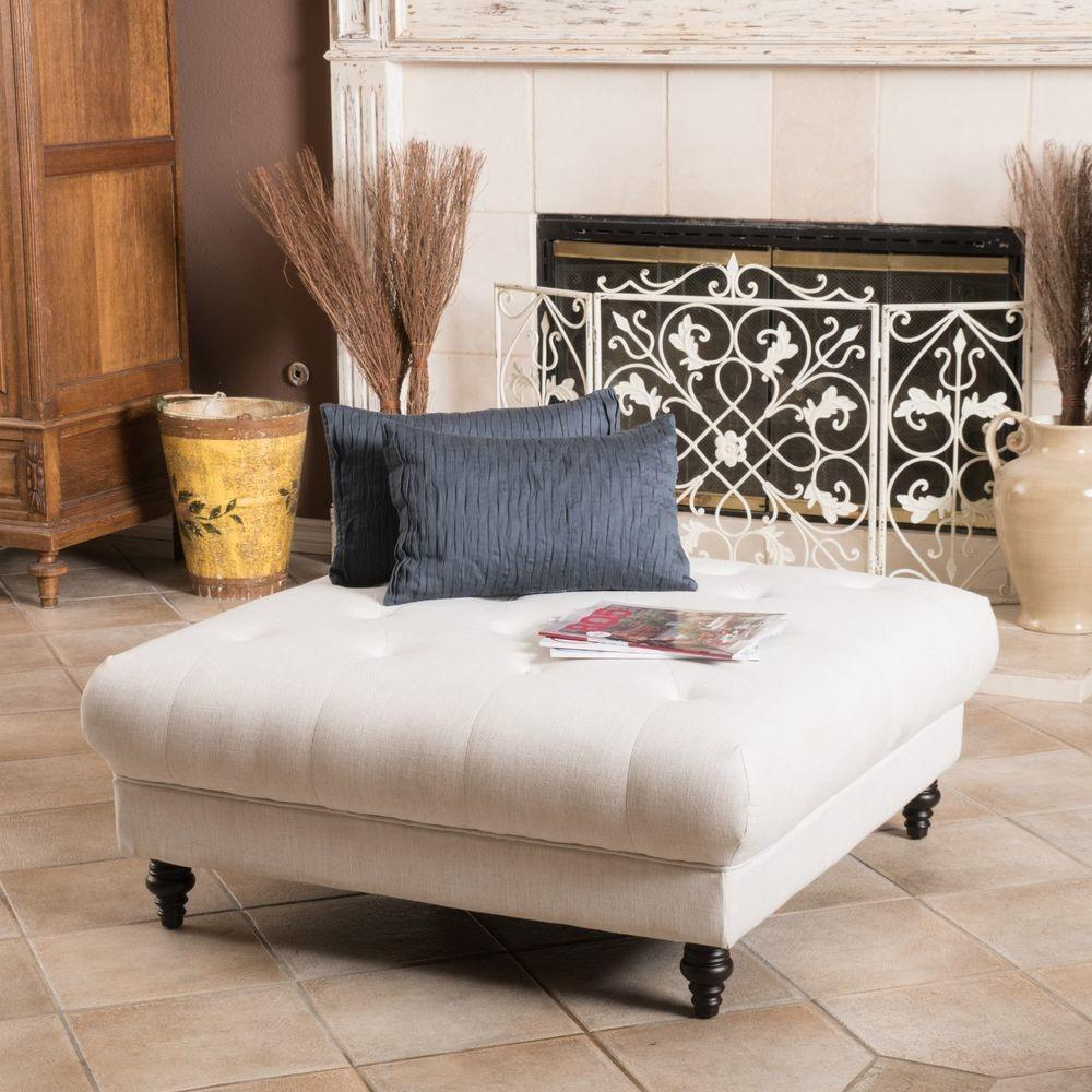 Square White Upholstered Tufted Ottoman Coffee Table