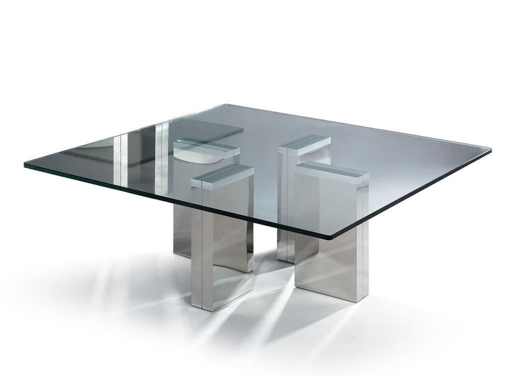 Square Wood Glass Coffee Table Drawer Storage