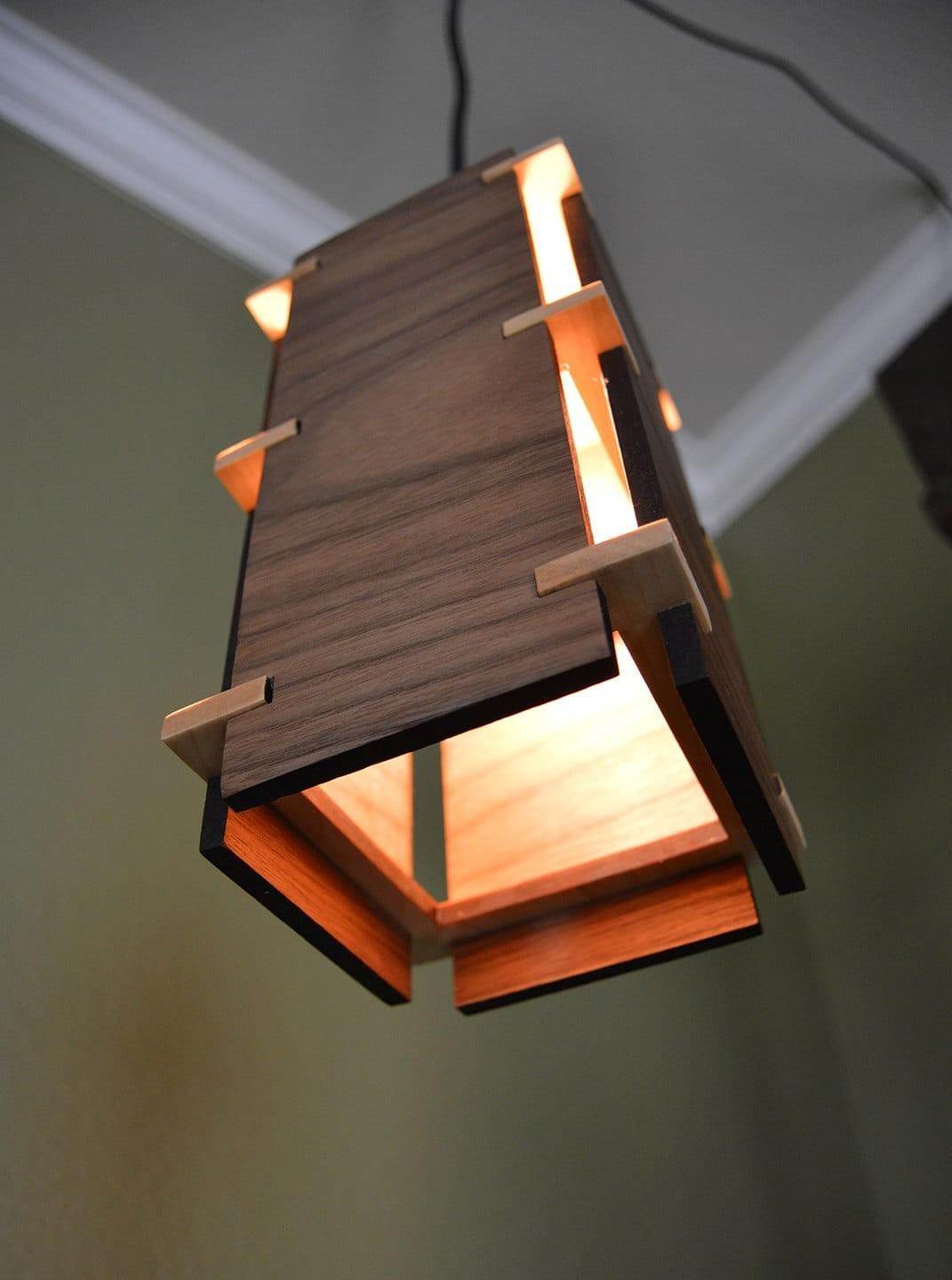 Square Wooden Pendant Light Lights