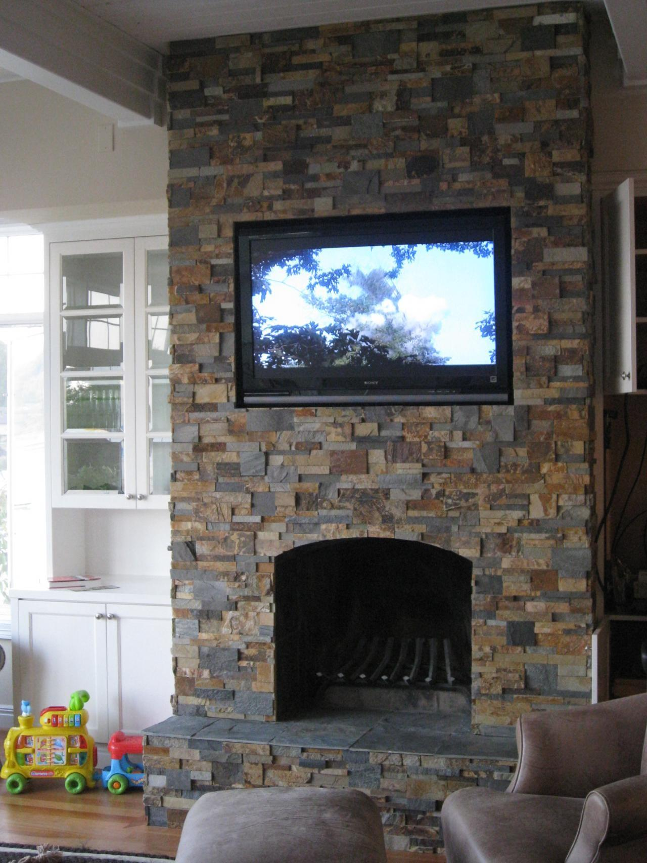 Stacked Stone Fireplace Simple Home Decoration