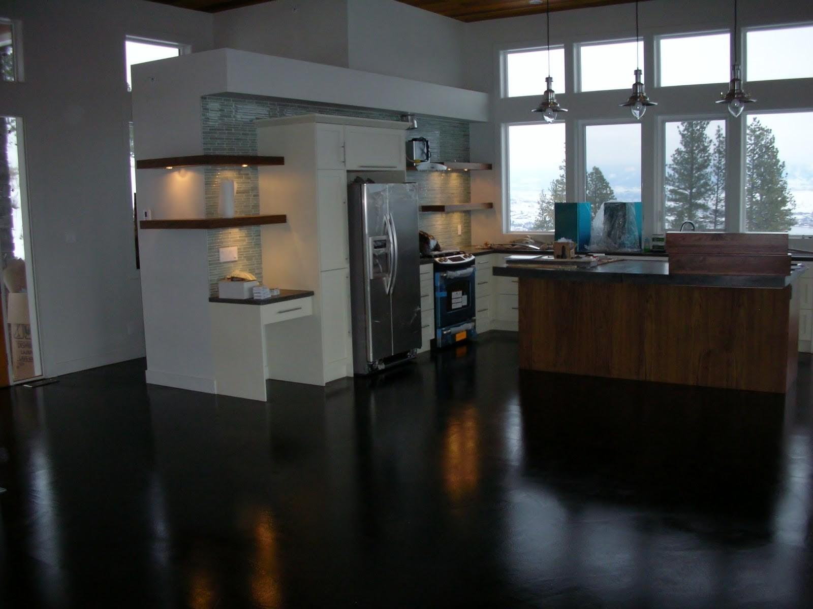 Stained Concrete Kitchen Floor Inspirations Also Painted