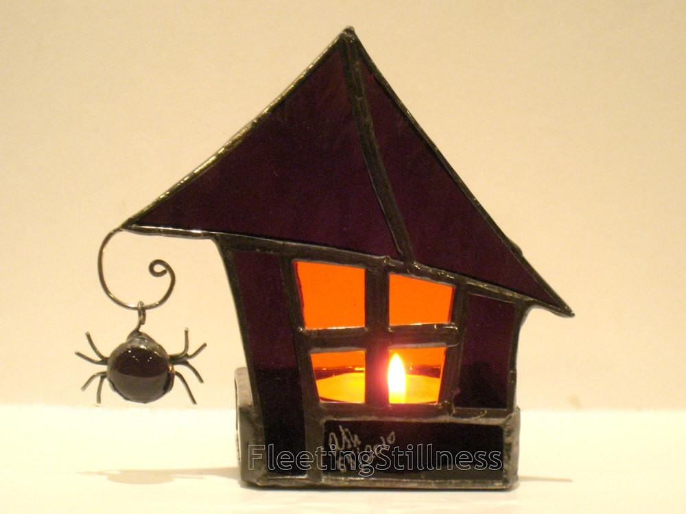 Stained Glass Candle Holder Halloween Decoration Goth Purple