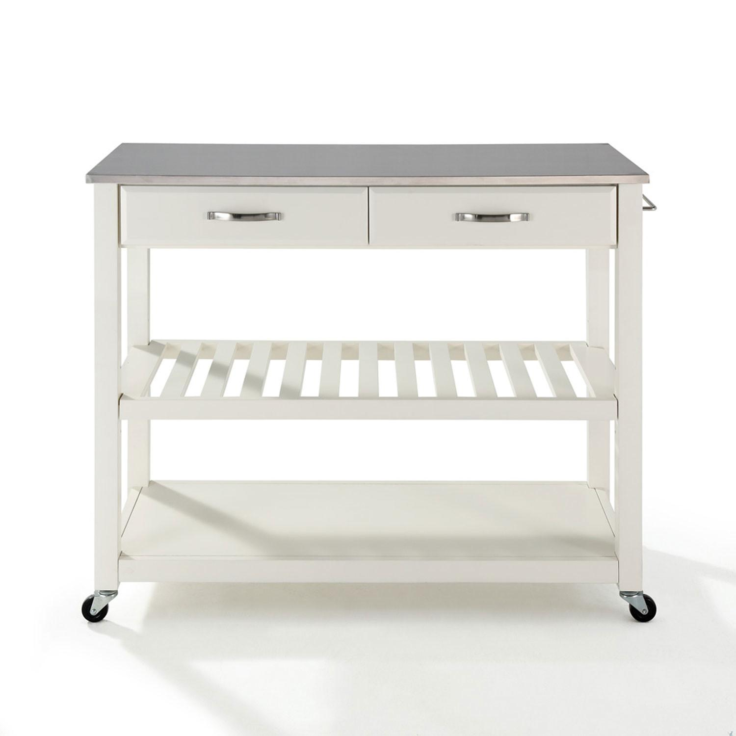 Stainless Steel Top Kitchen Cart Island Optional