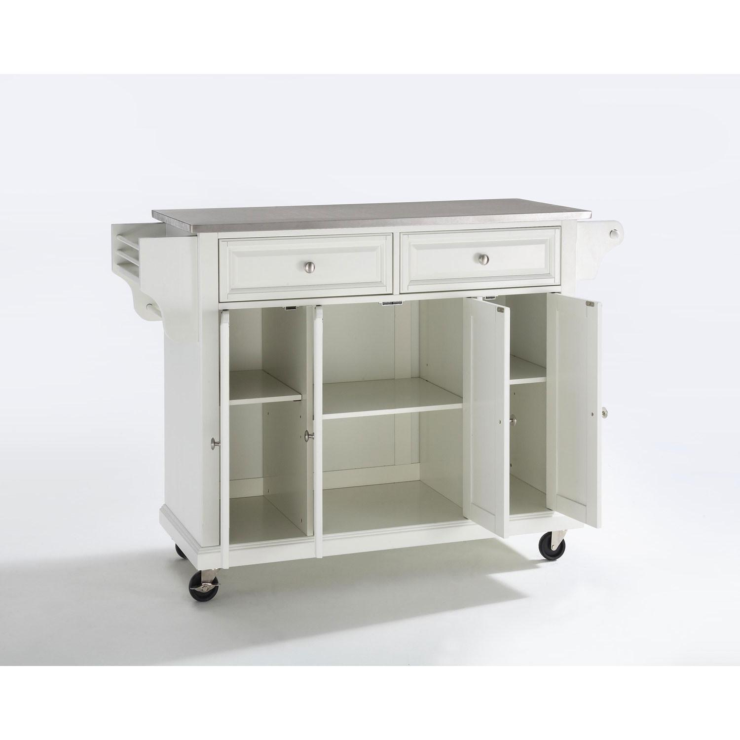 Stainless Steel Top Kitchen Cart Island White Finish