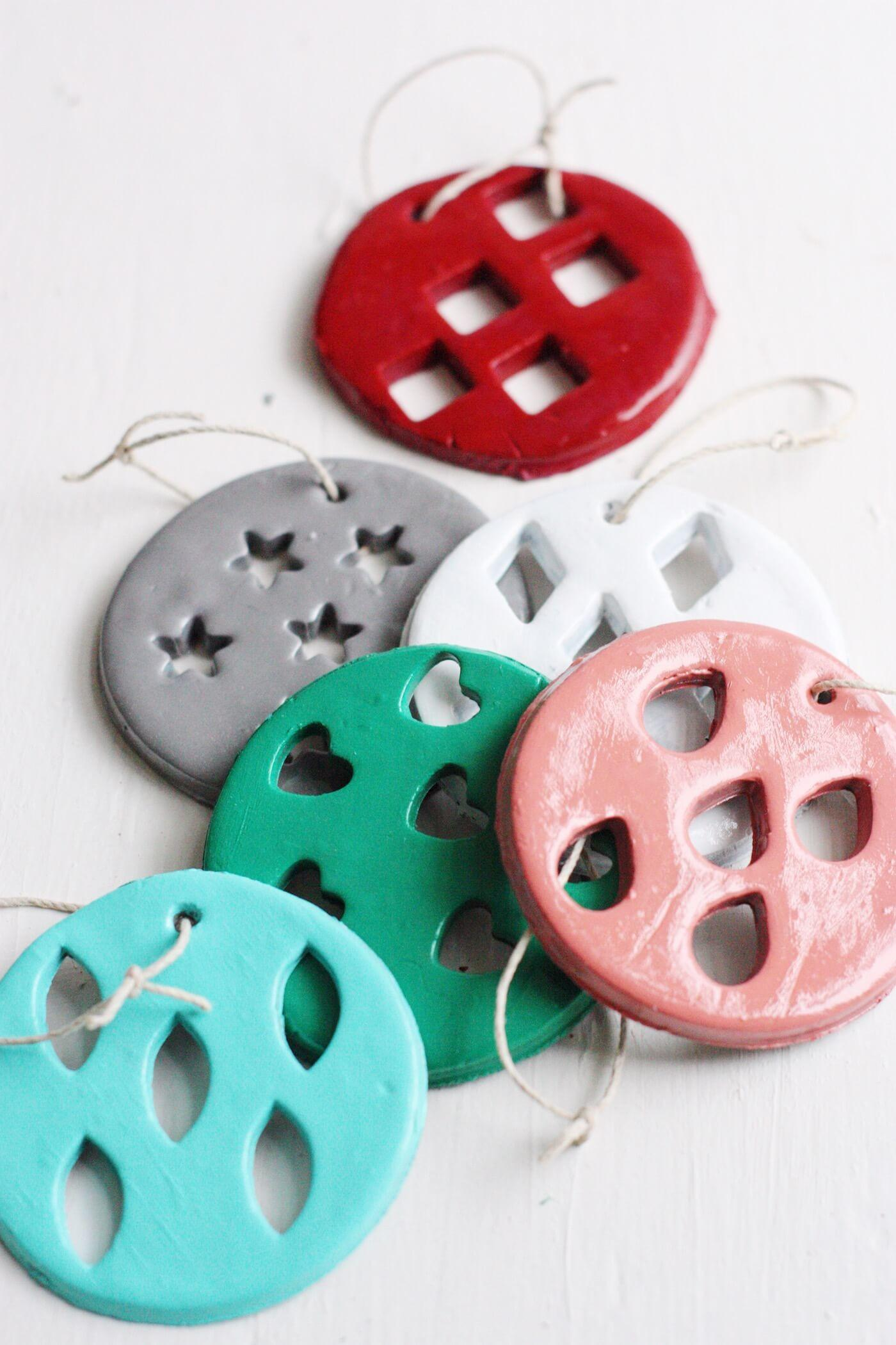Stamped Geometric Clay Christmas Ornaments Diy Candy