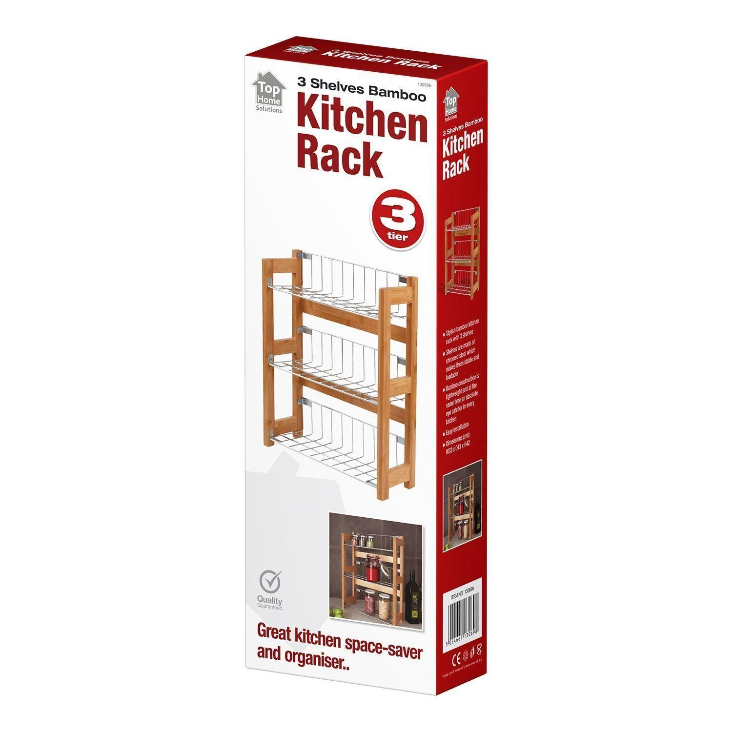 Standing Bamboo Wall Mounted Spice Jar Rack Tier