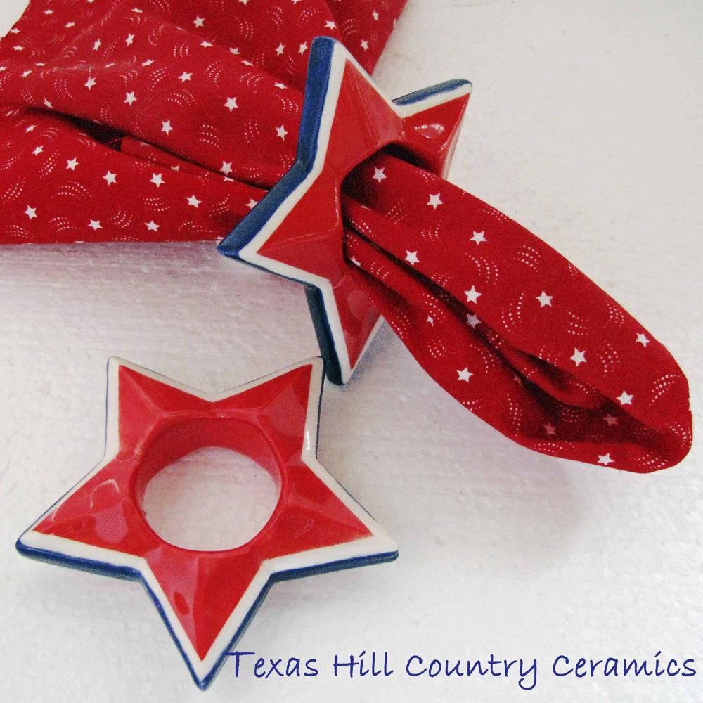 Star Napkin Ring Red White Blue July 4th