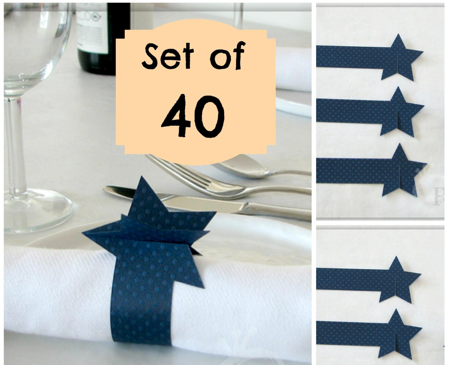 Star Napkin Rings 4th July Red White Blue