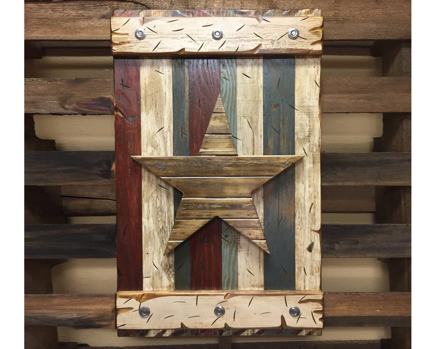 Star Rustic Sign Reclaimed Shutter Distressed Industrial