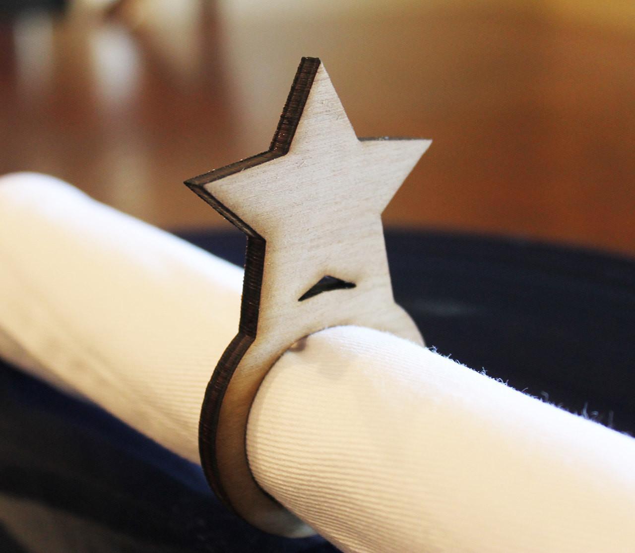 Star Wood Napkin Rings 4th July New Years Eve Laser
