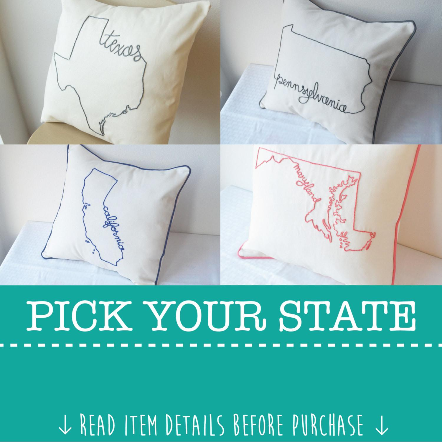 State Pillow Cover Decorative Throw Custom Embroidered United