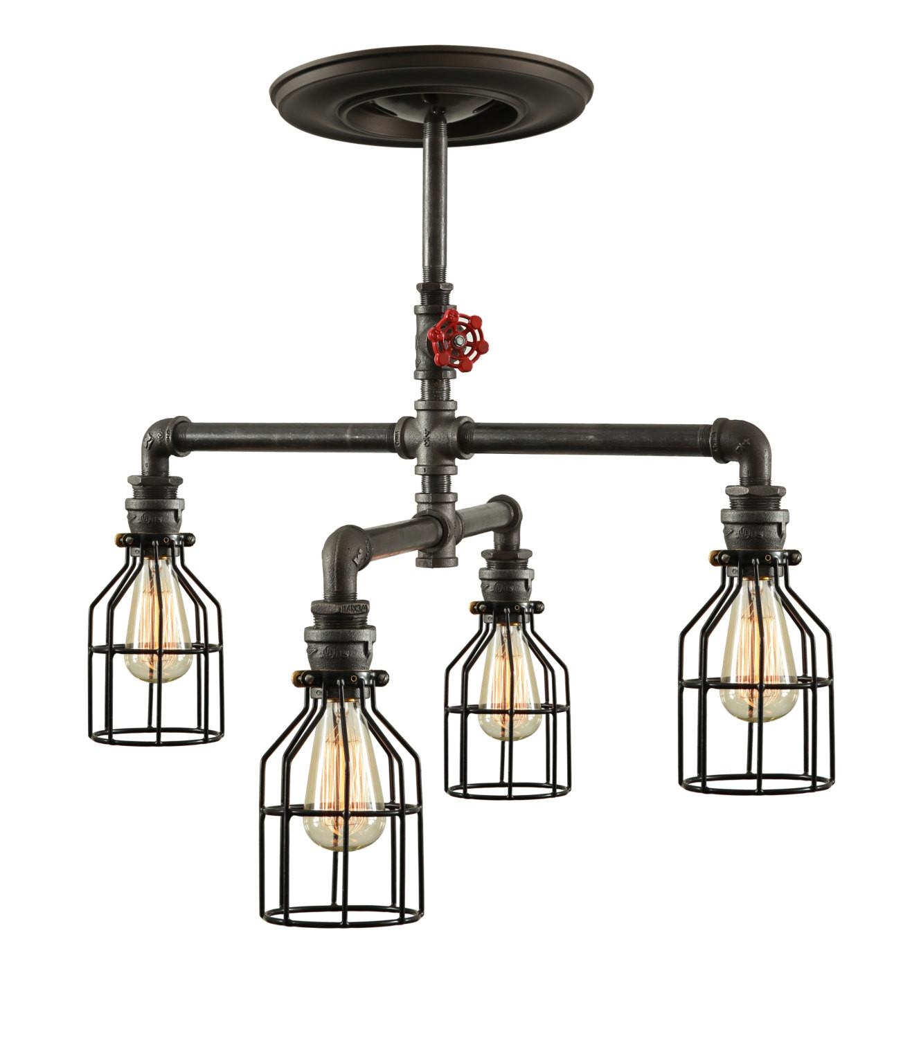 Steampunk Industrial Ceiling Light Pipe