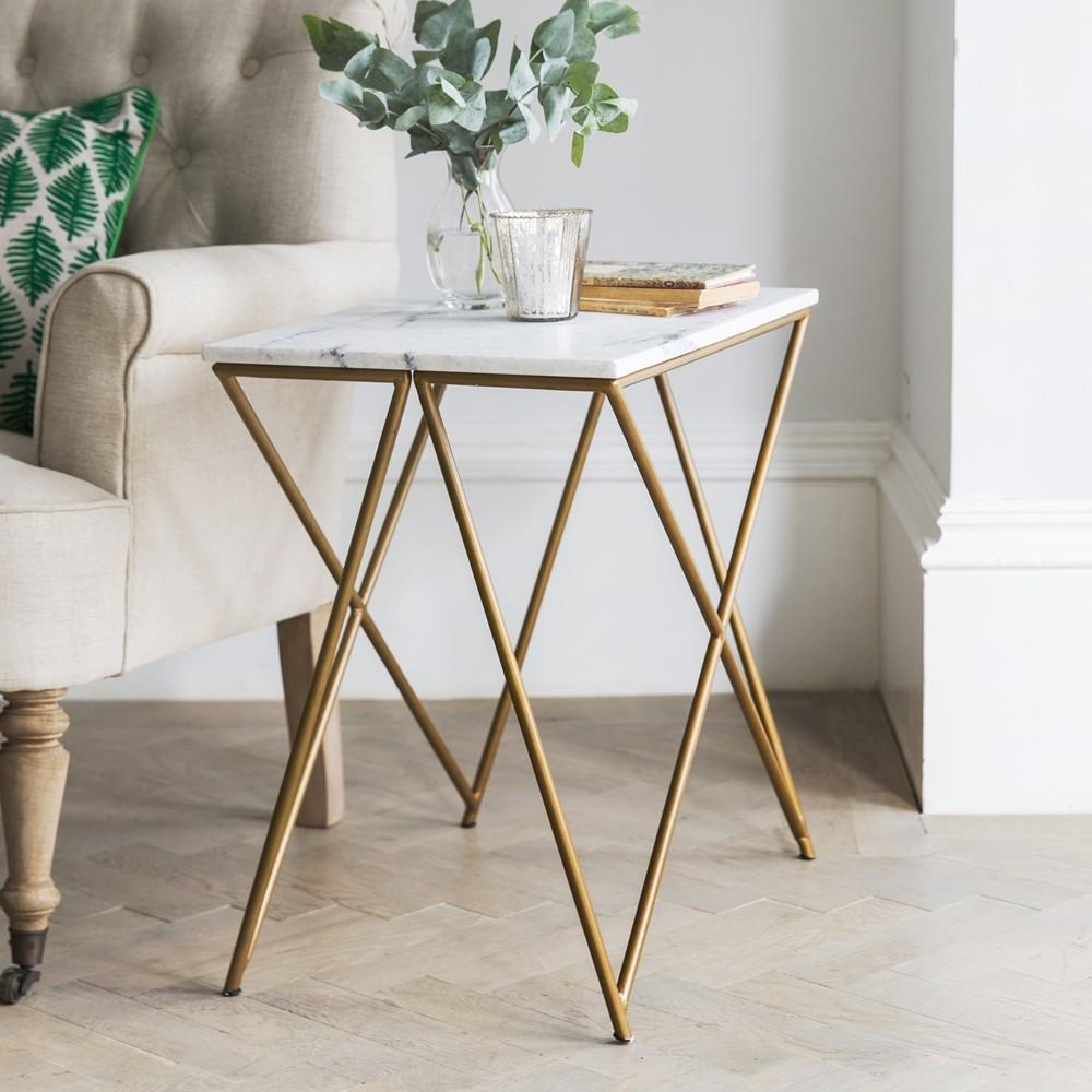 Stellar White Marble Side Table