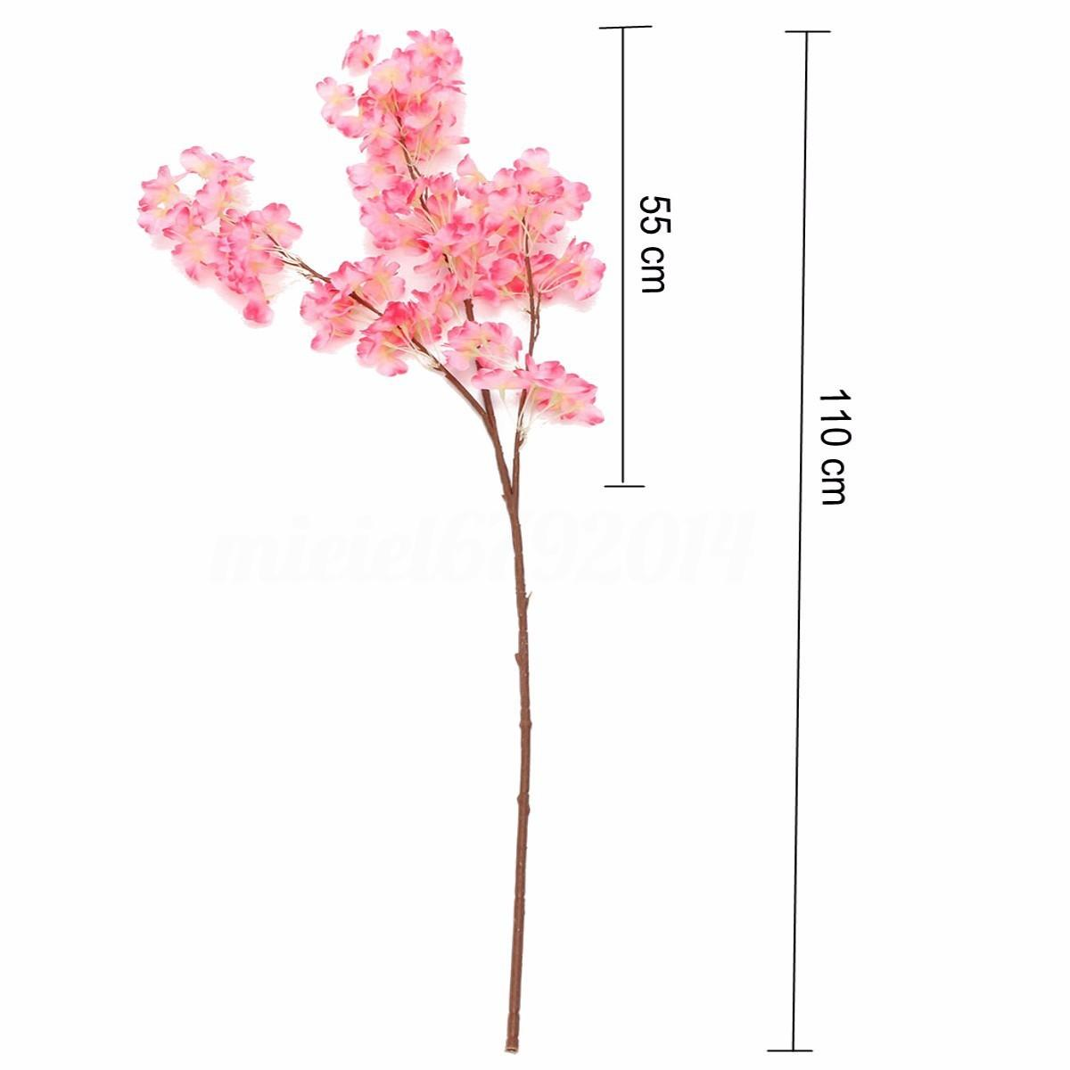Stem Branchs Artificial Plum Peach Cherry Blossom Silk