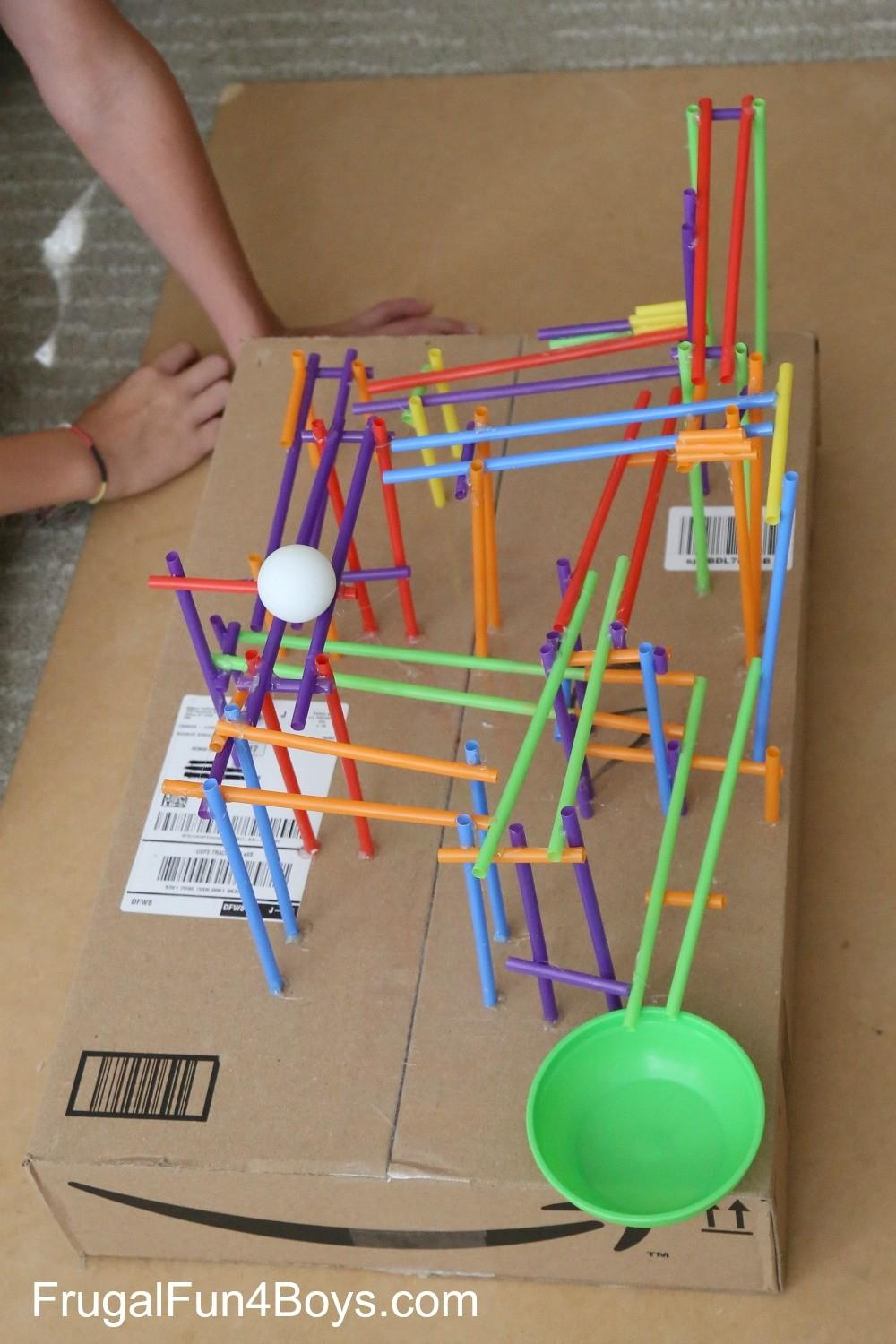 Stem Challenge Kids Build Straw Roller Coaster