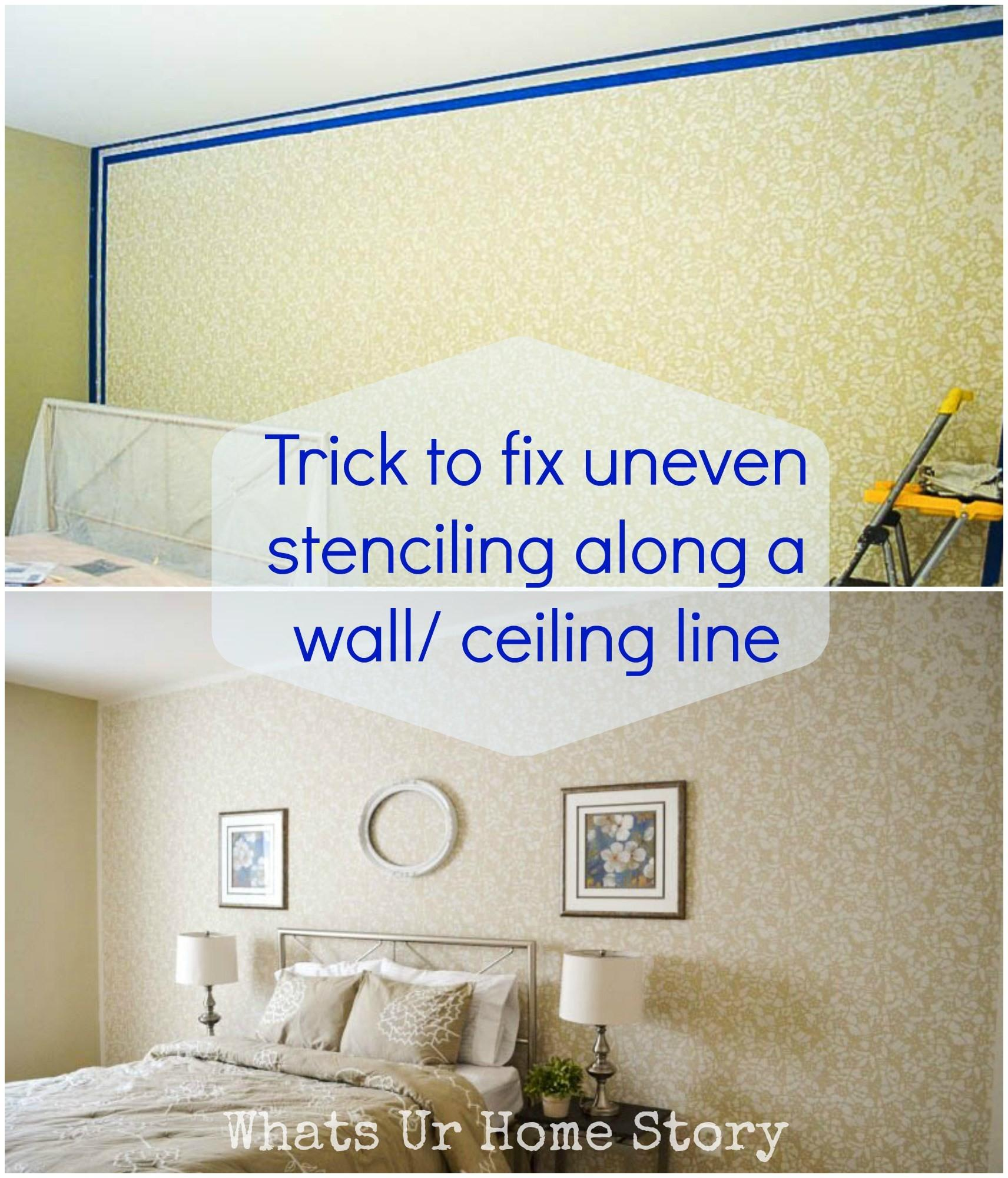 Stencil Wall Trick Fix Uneven Edges