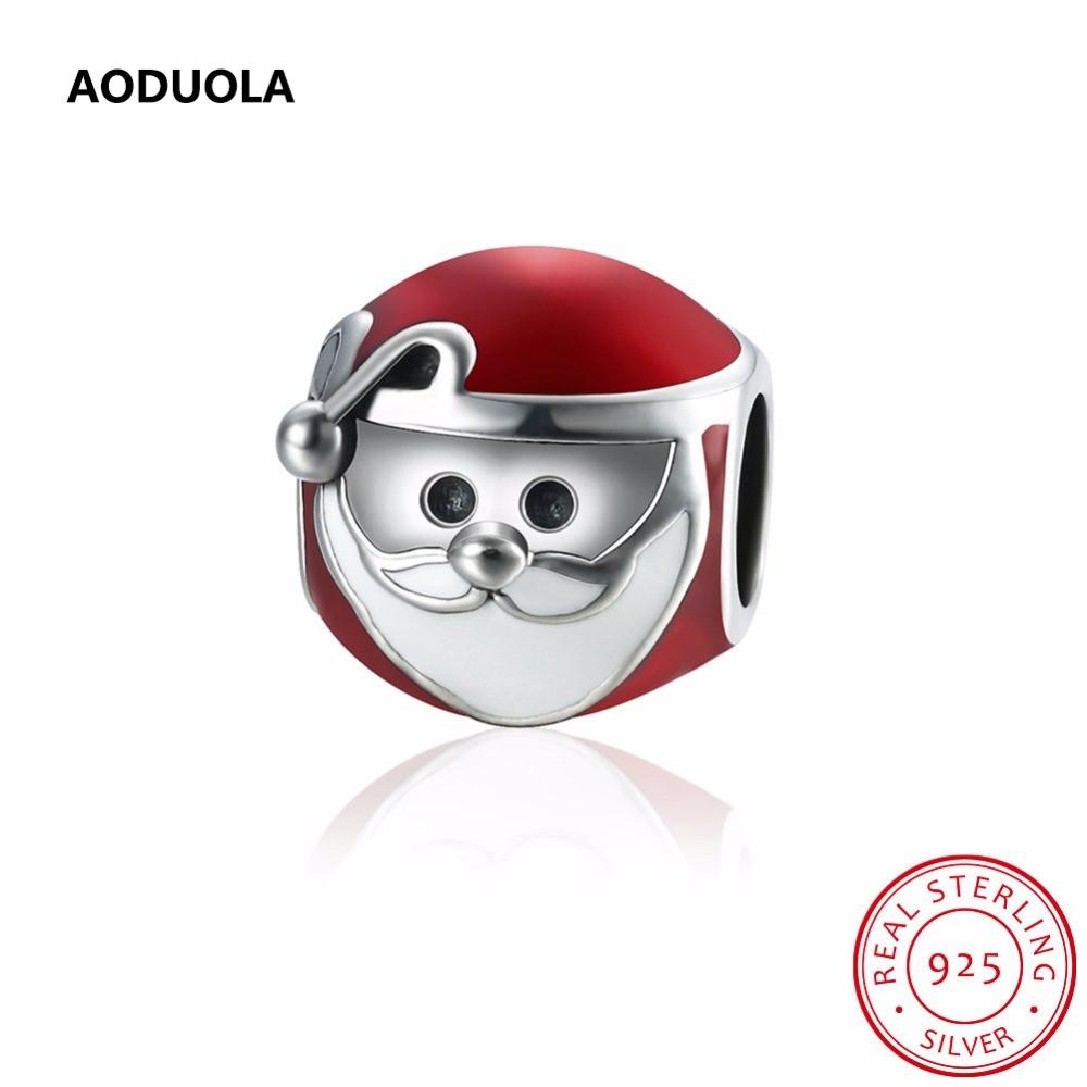 Sterling Silver 925 Lucky Santa Claus Head Red Enamel
