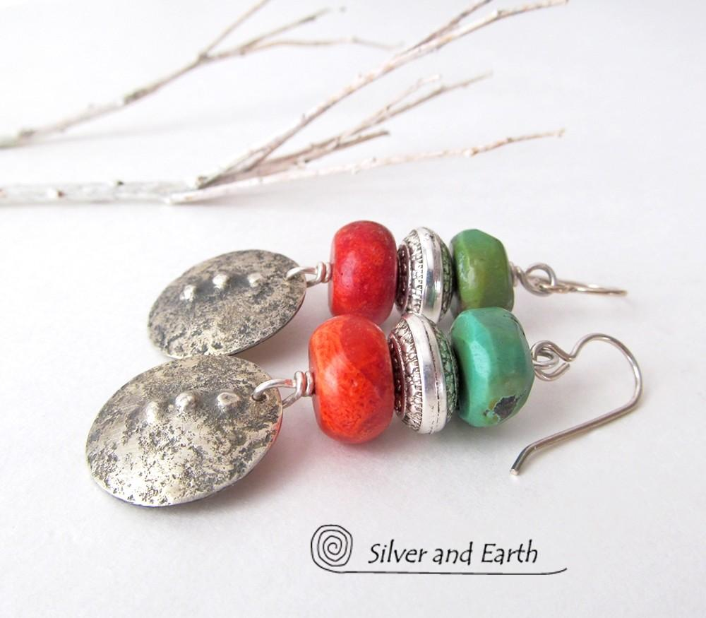 Sterling Silver Earrings Turquoise Red Coral