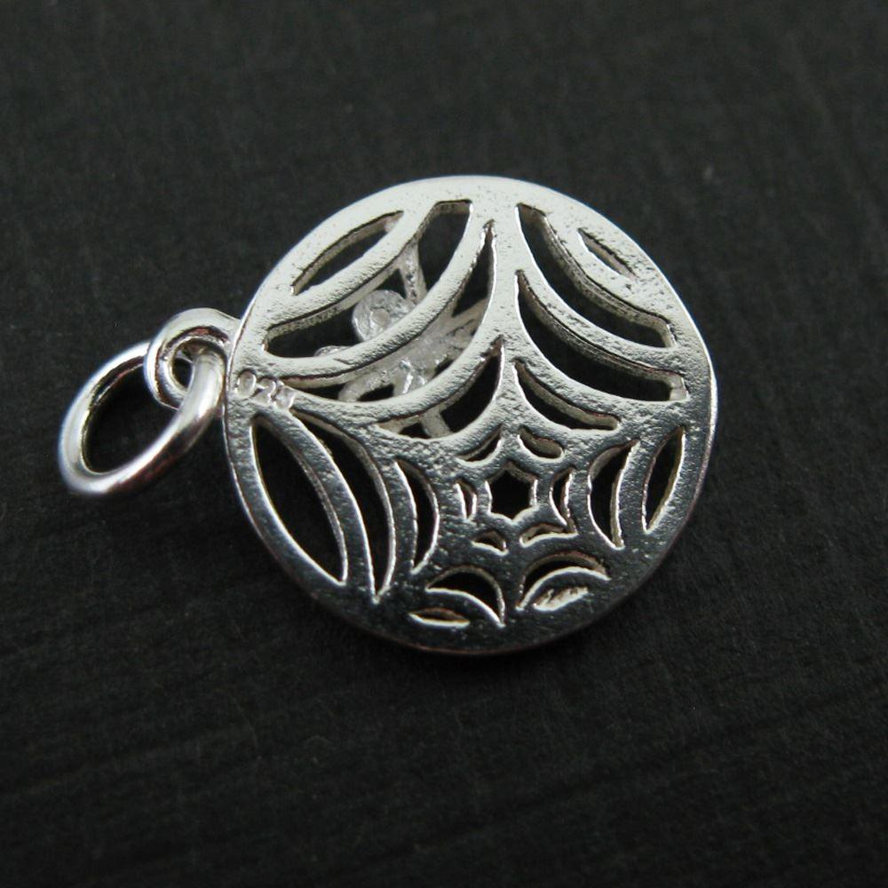 Sterling Silver Web Charm Spider