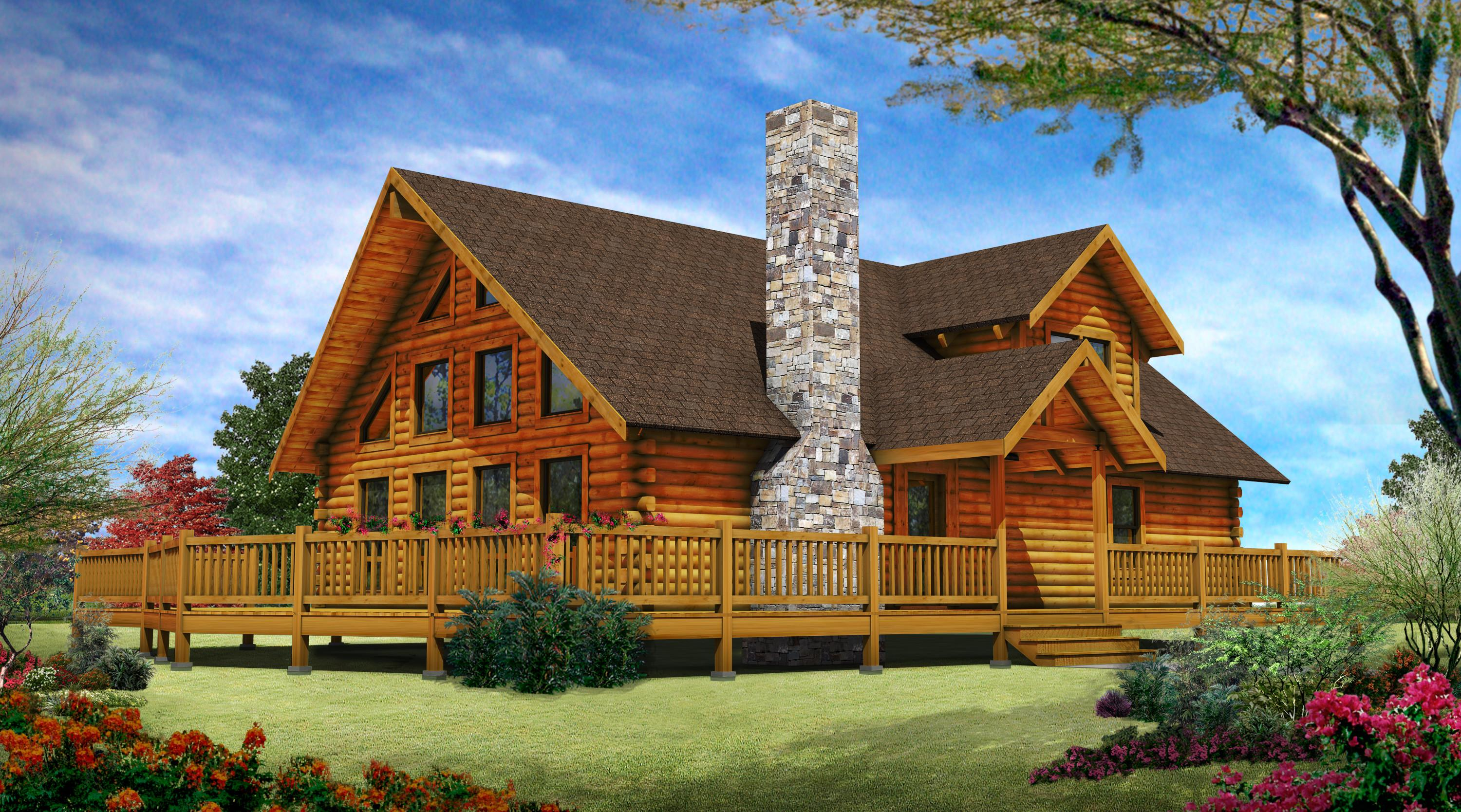 Stone Chimney Gable Roof Wood Siding Plus Deck