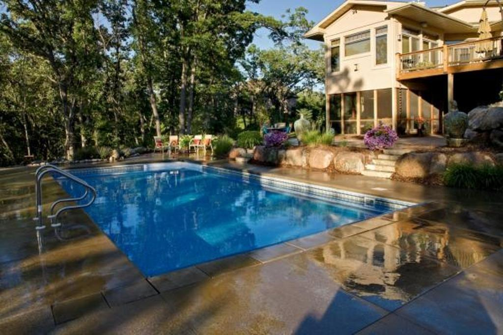 Stone Deck Luxury Home Ideas Rectangular Shaped