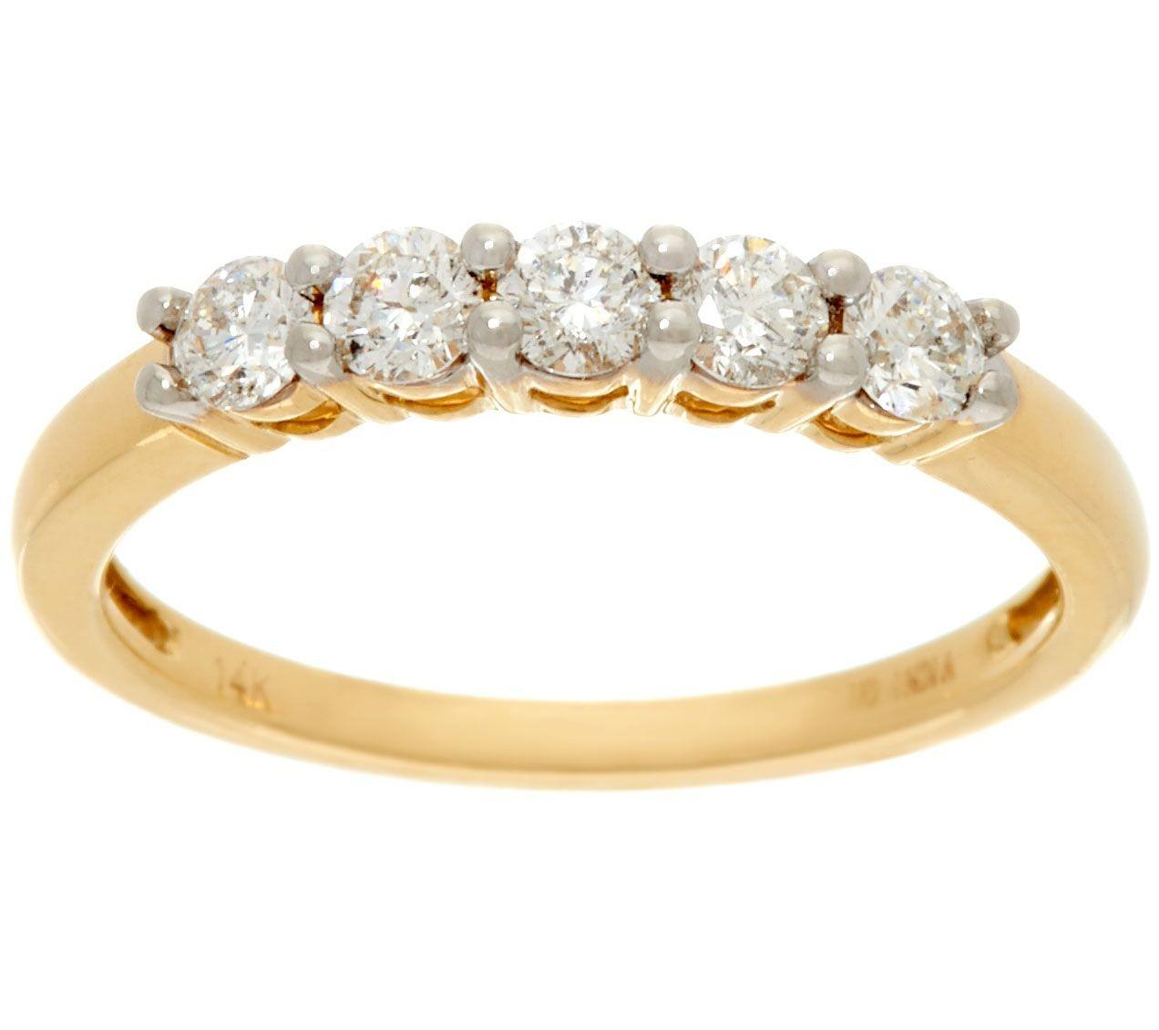 Stone Diamond Band Ring 14k Gold