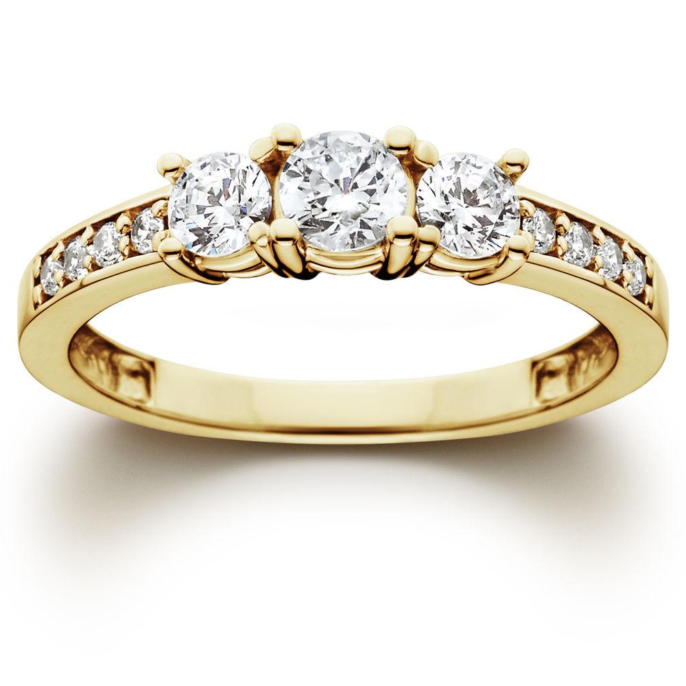 Stone Diamond Engagement Ring 10k Yellow Gold
