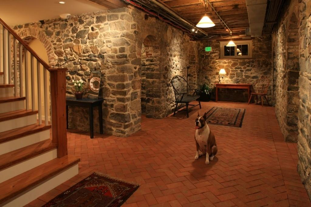 Stone Wall Decor Brick Floor Cozy Basement Family
