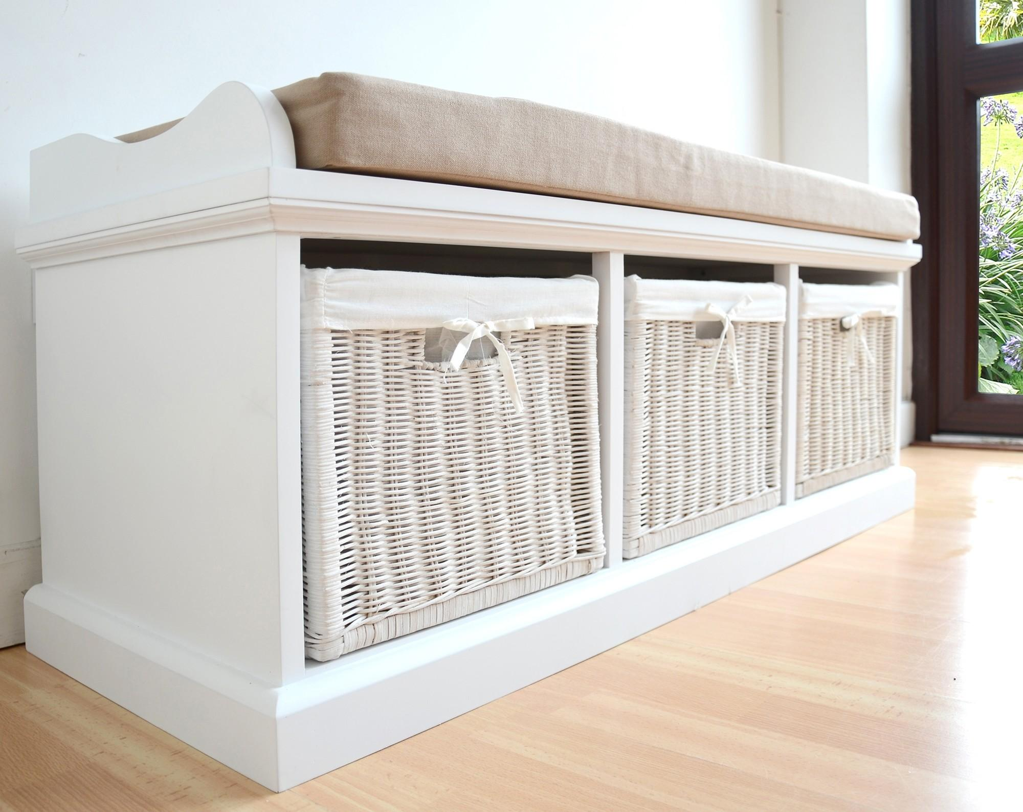 Storage Bench Wicker Baskets