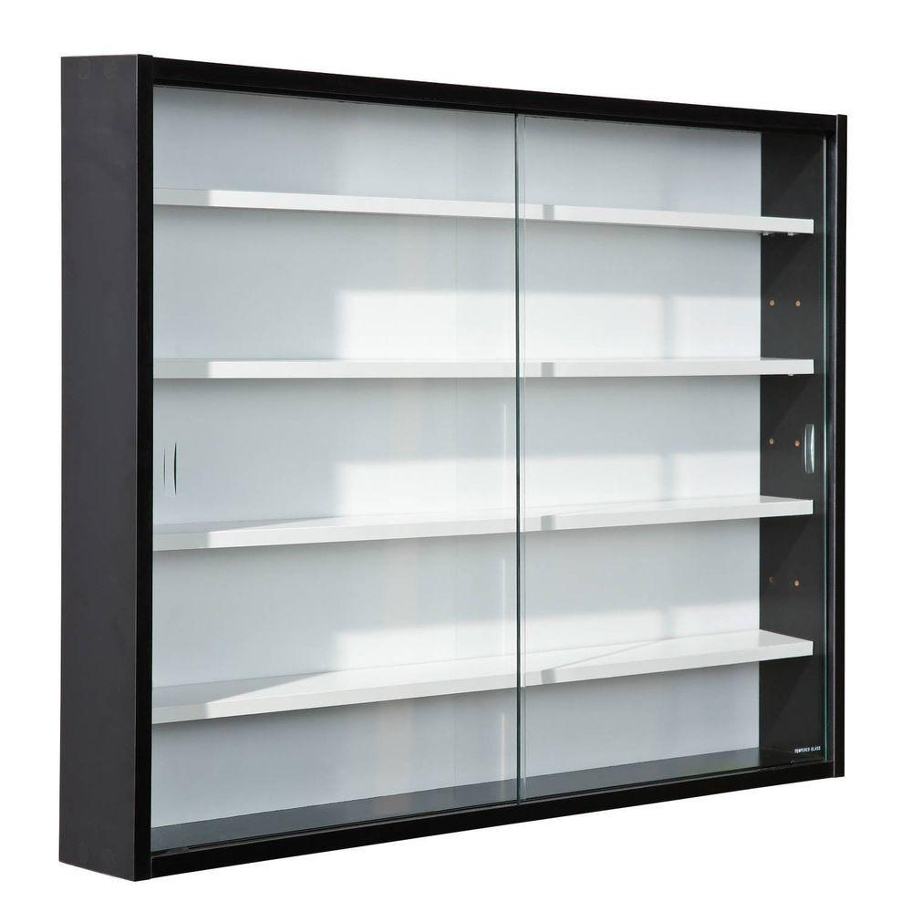Storage Display Cabinet Modern Shelves Wall Glass Case Box