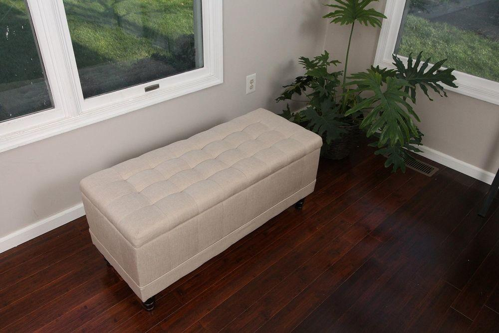 Storage Ottoman Bench Lift Top Upholstered Tufted Linen