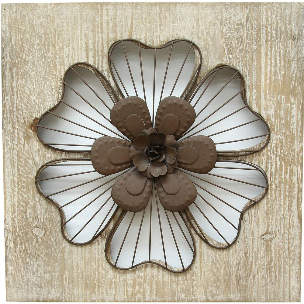 Stratton Home Decor Rustic Flower Wall Cor
