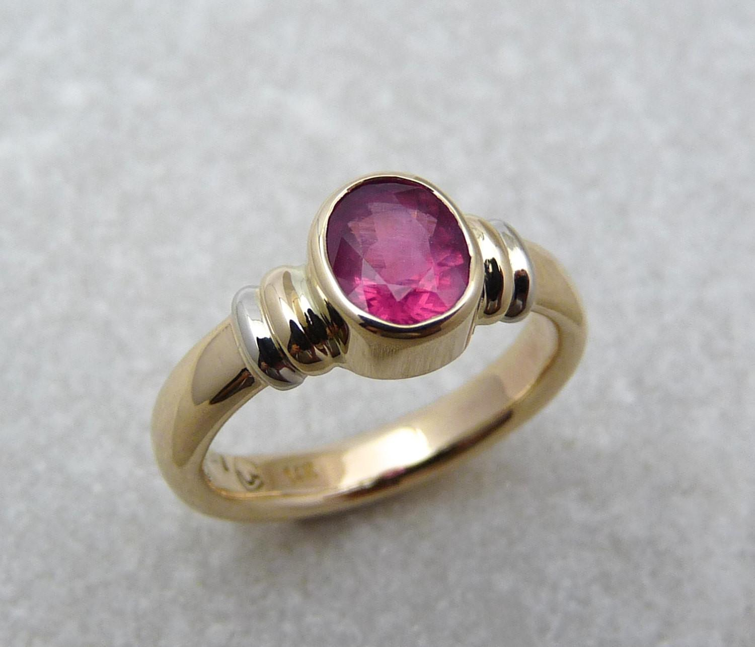 Strawberry Red Spinel Gold Rings Stone Ring