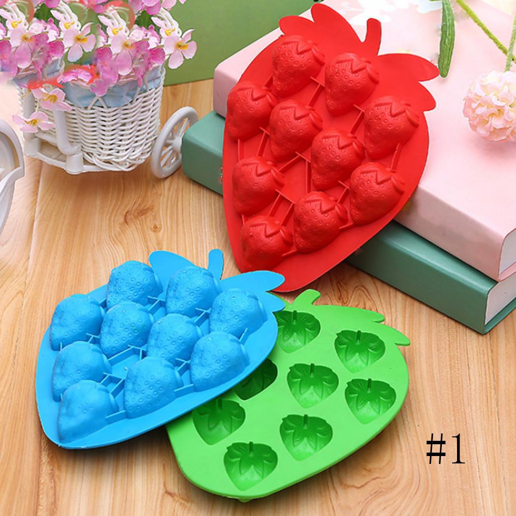Strawberry Shape Ice Cube Trays Sweet Candy Maker Moulds