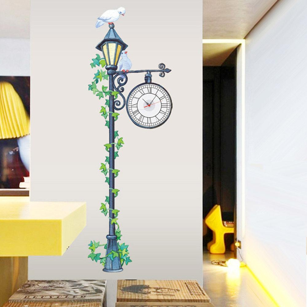 Street Lamp Post Clock Wall Stickers Diy Art Mural Decal