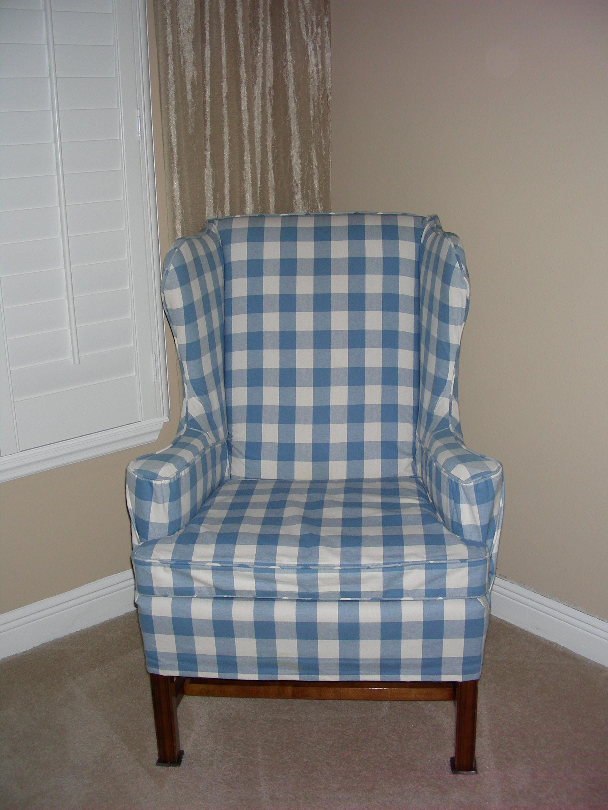 Stripe Wing Chair Slipcover Chairs Seating