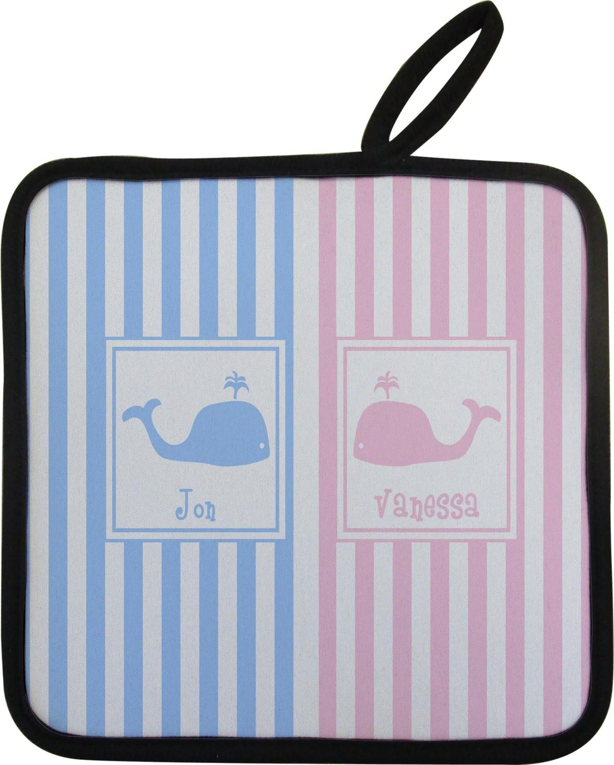 Striped Whales Pot Holder Personalized Customize