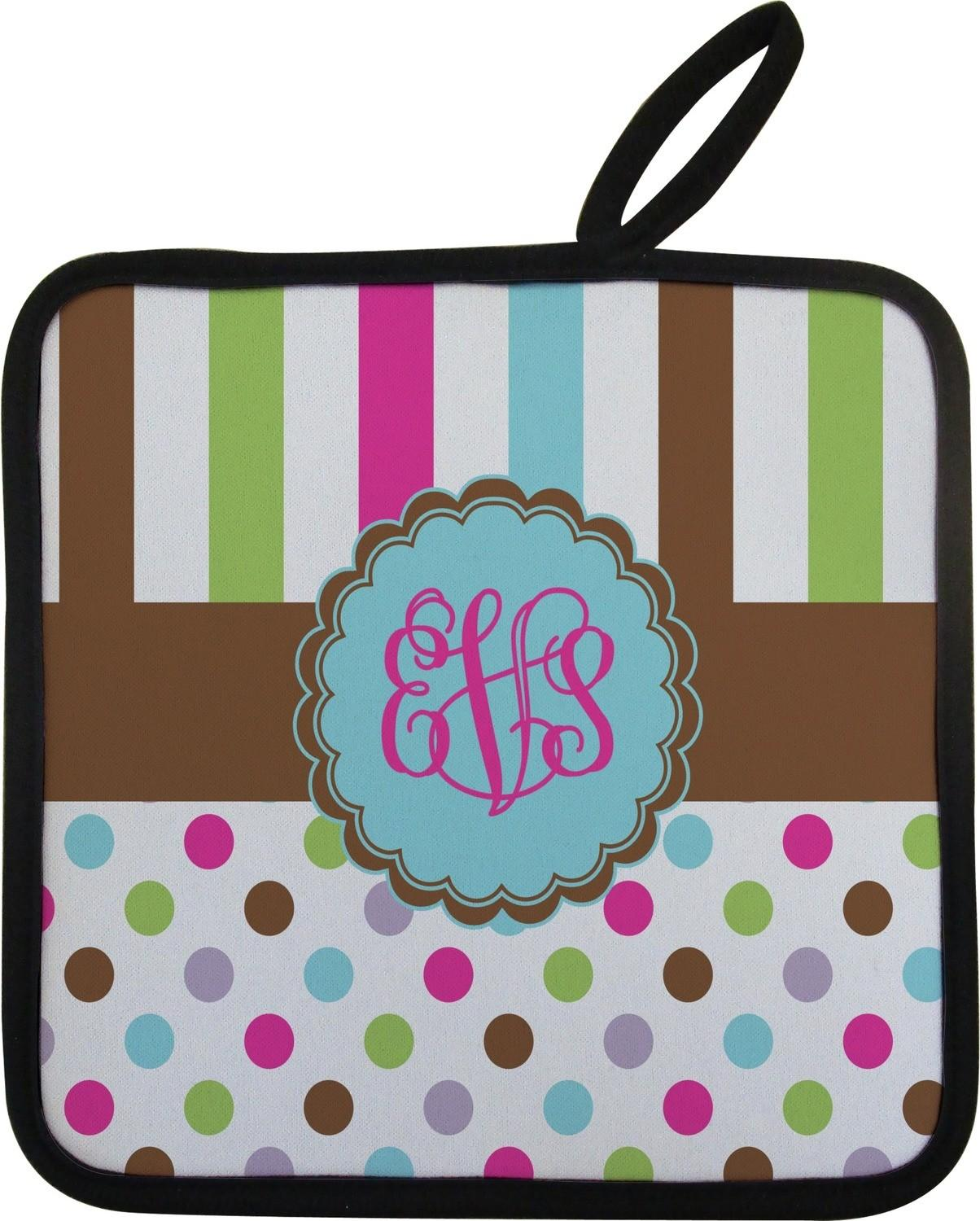 Stripes Dots Pot Holder Personalized Youcustomizeit