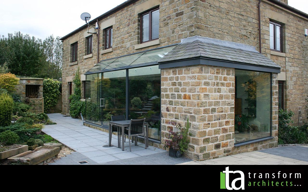 Structural Glass Extension Stone Corner Transform