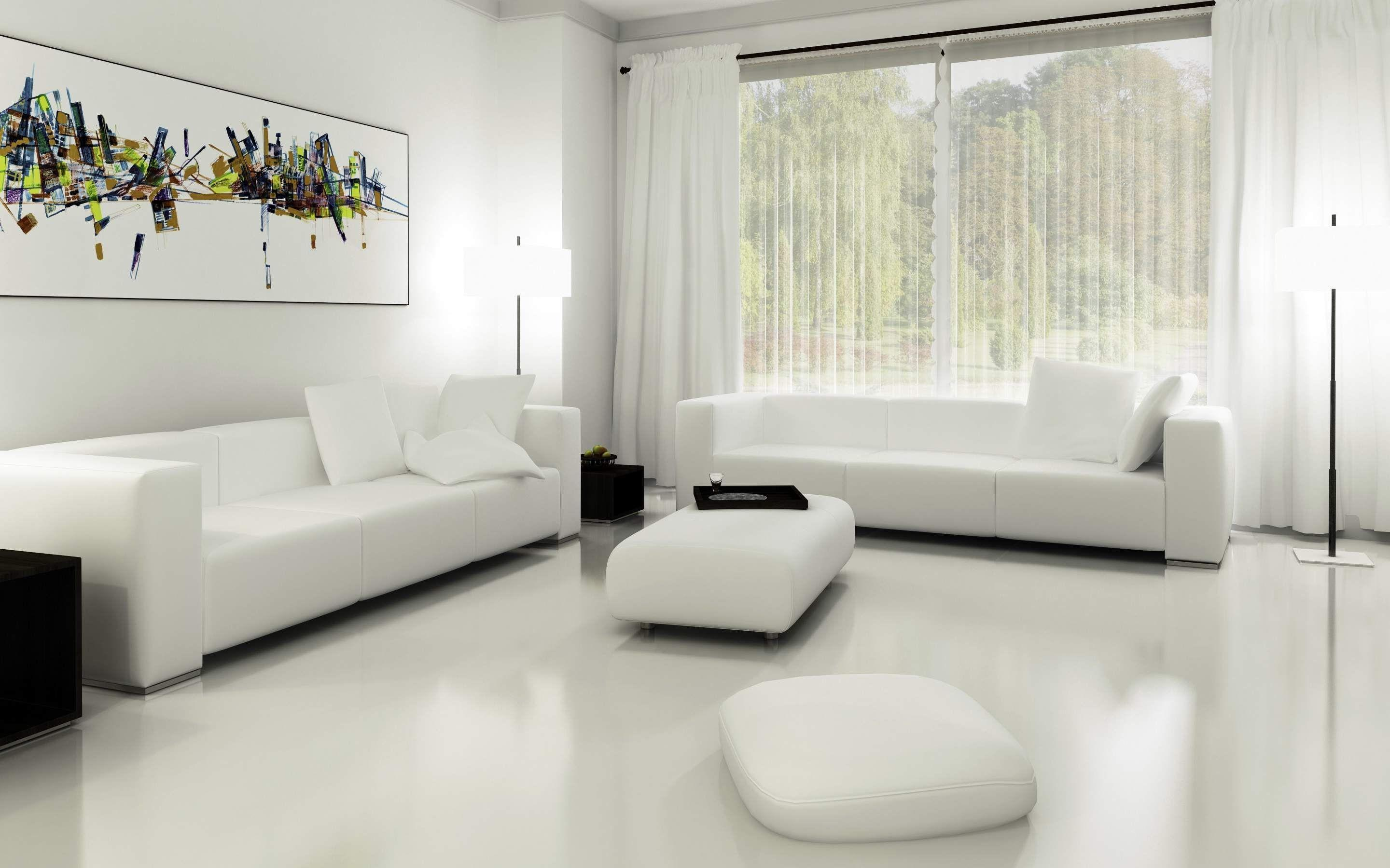 Stunning All White Living Room Design
