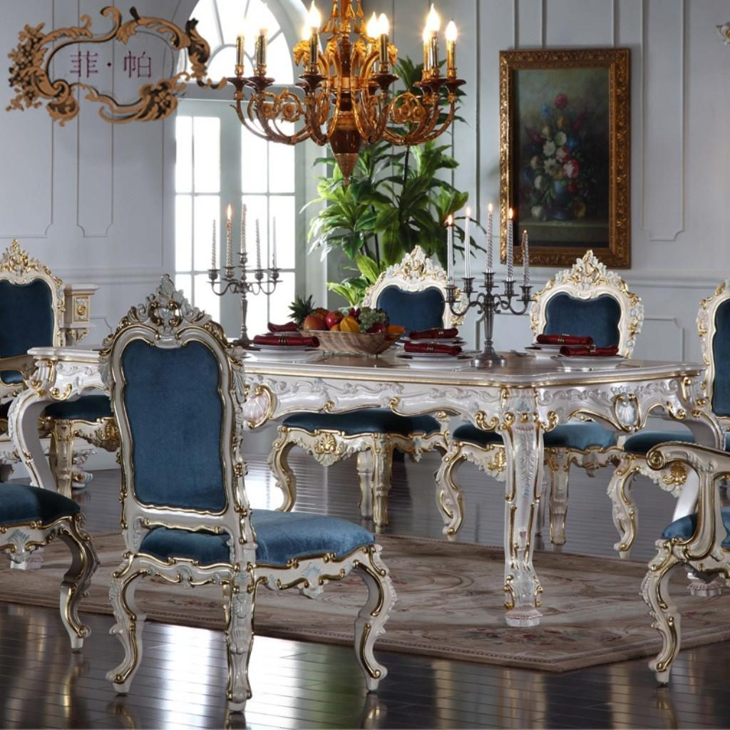 Stunning Blue Upholstered Chairs Antique White Dining
