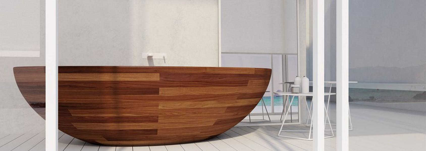 Stunning Freestanding Double Slippers Wooden Bathtub