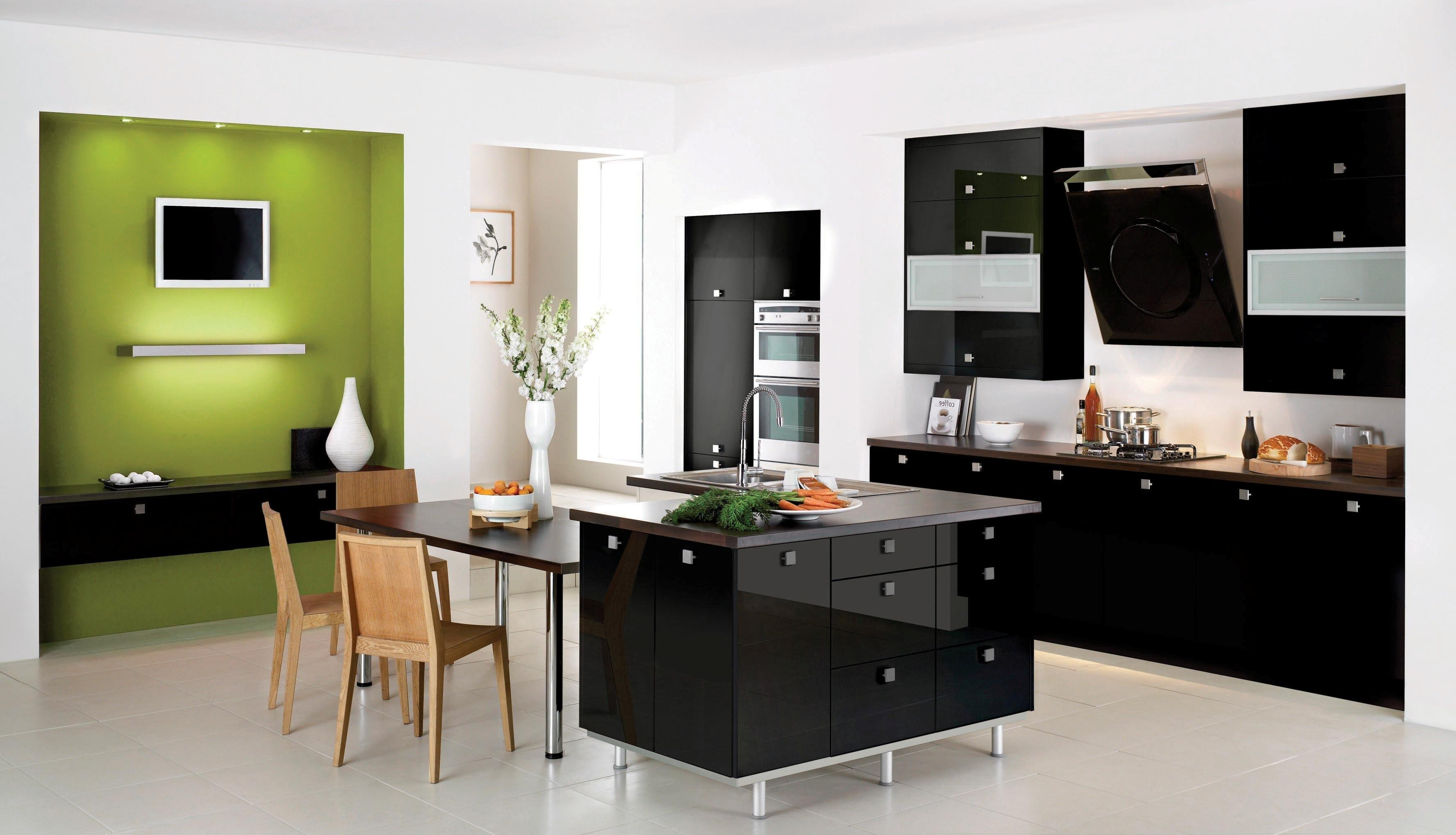 Stunning Modern Kitchen Design Floating Black Glossy