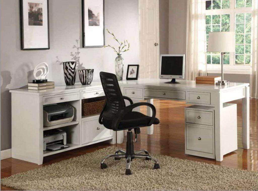 Stunning Modular Home Office Ideas White Shape Desk