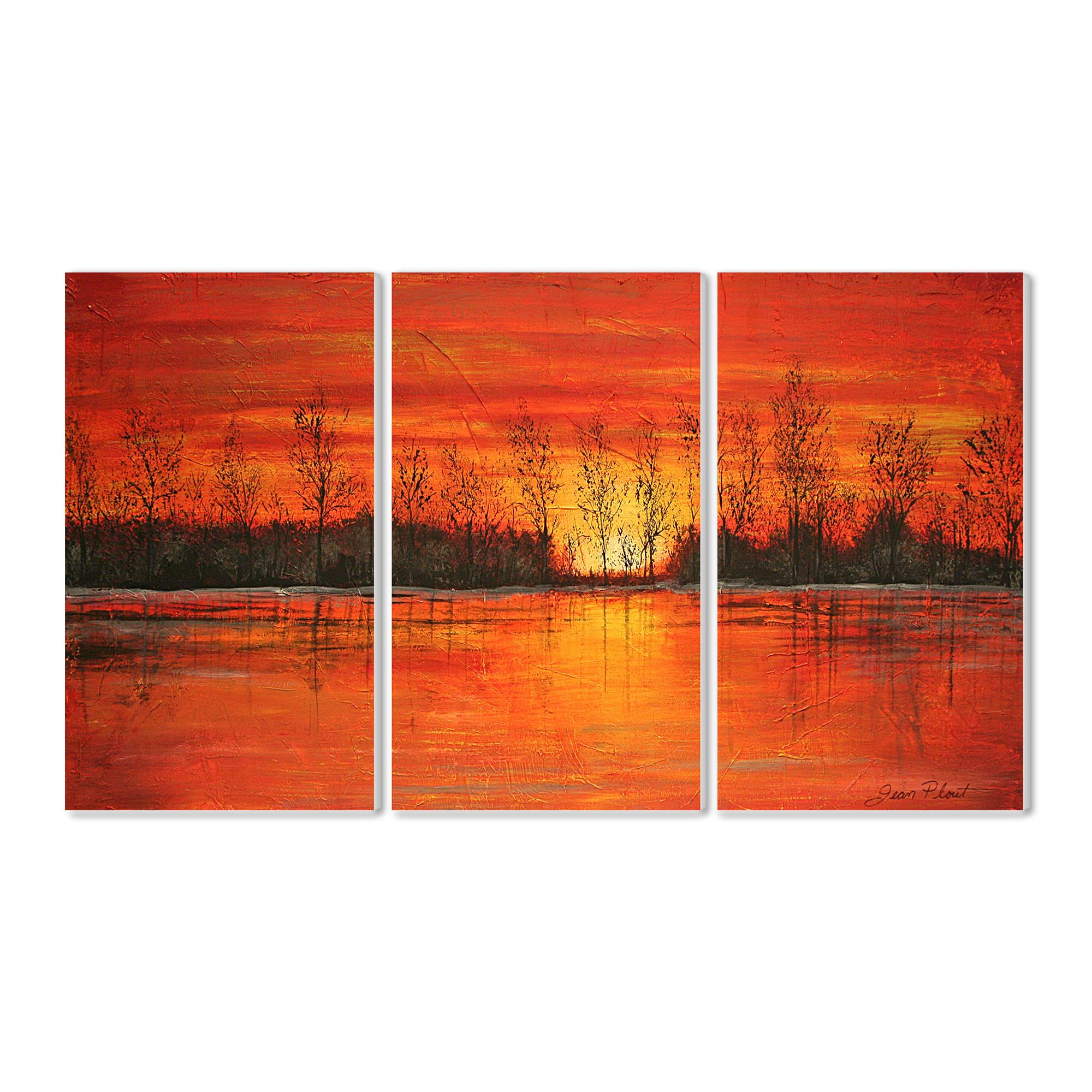 Stupell Industries Autumn Sunset Triptych Piece Painting