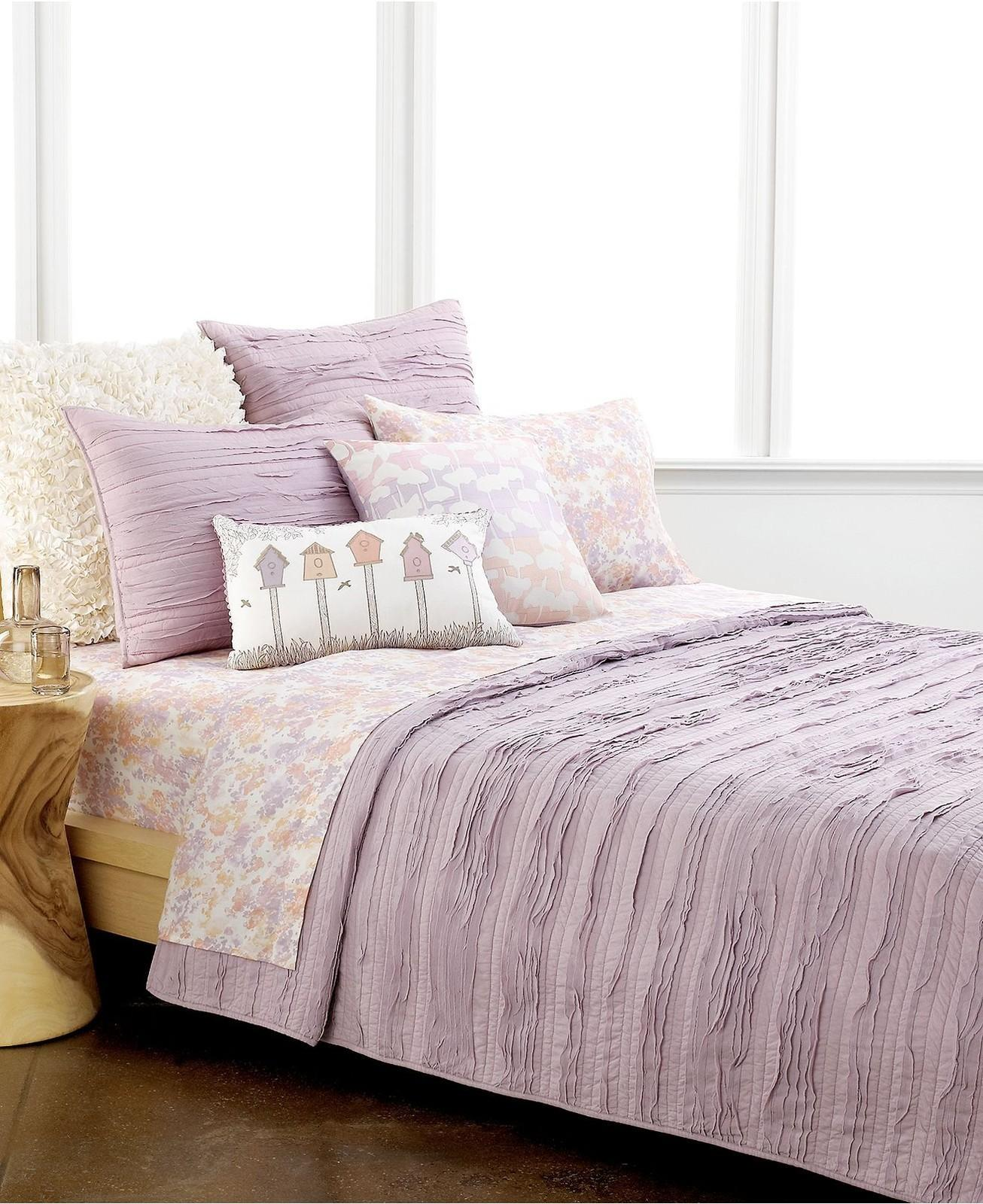 Style Forget Ruffled Textured Twin Quilt Lavender