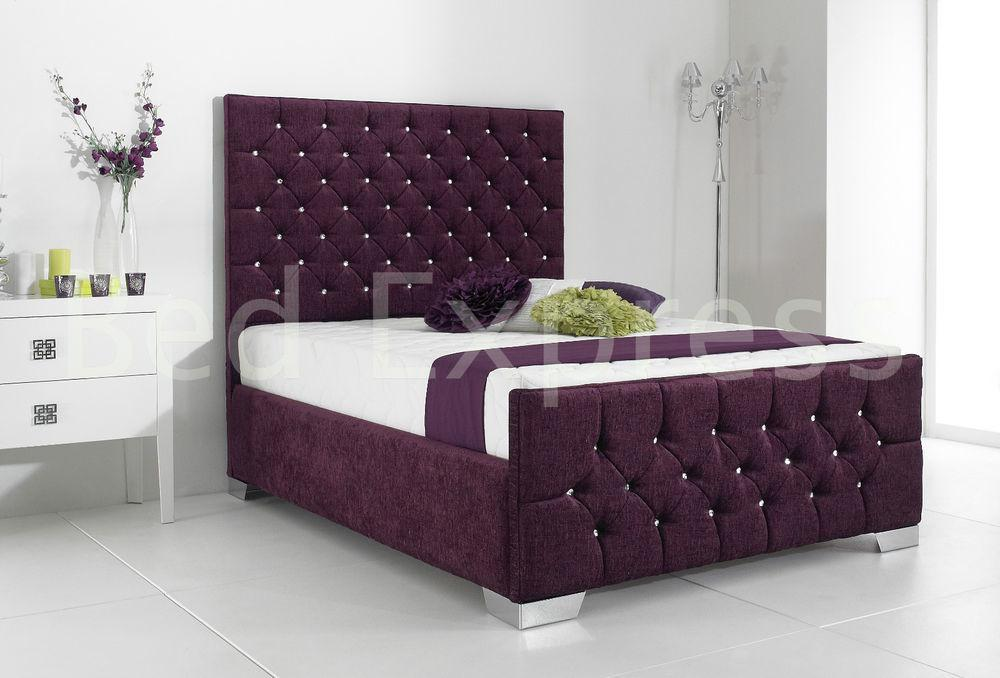 Stylish Fabric Upholstered Bed Frame Chenille Leather 4ft6