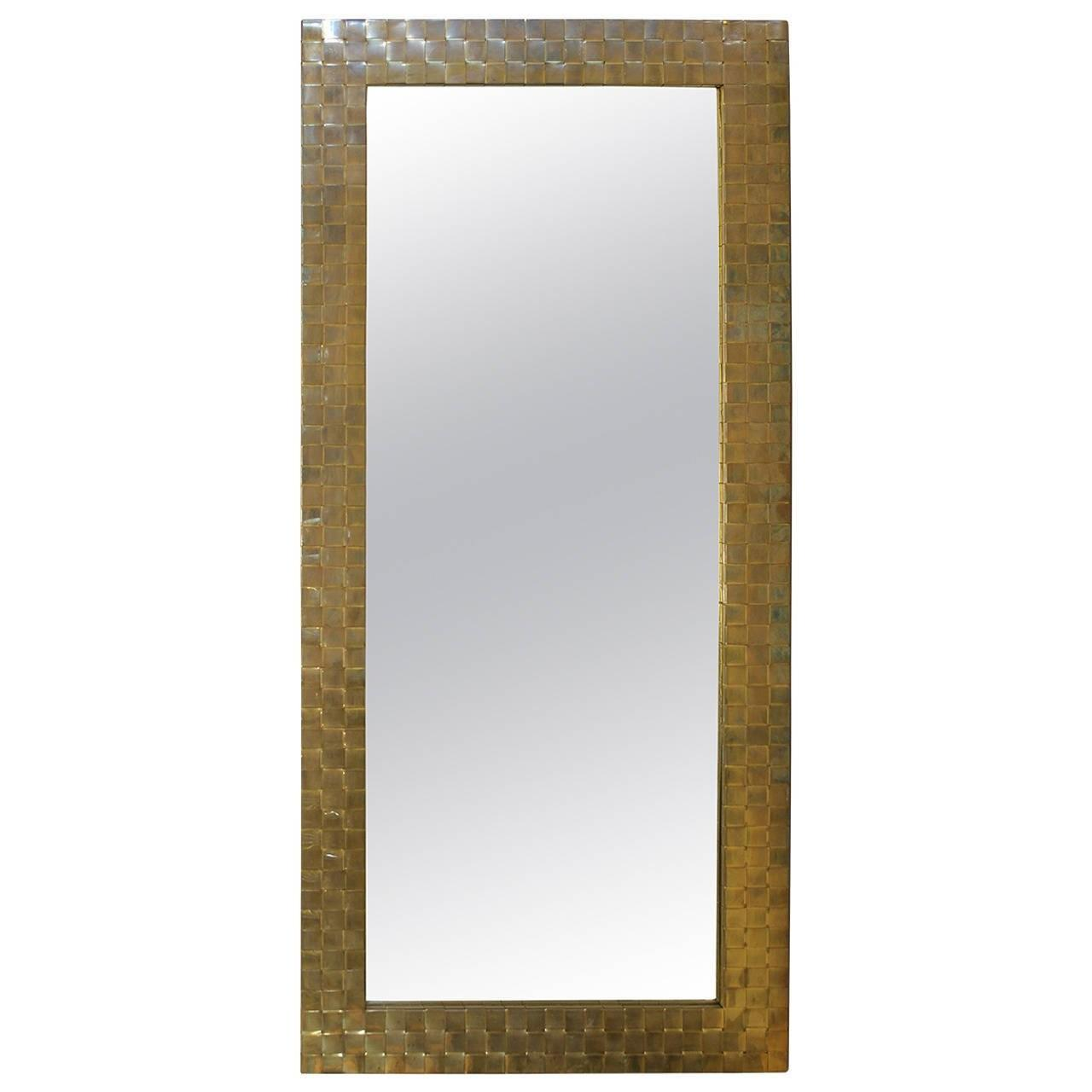 Stylish Mid Century Brass Mirror Sale 1stdibs